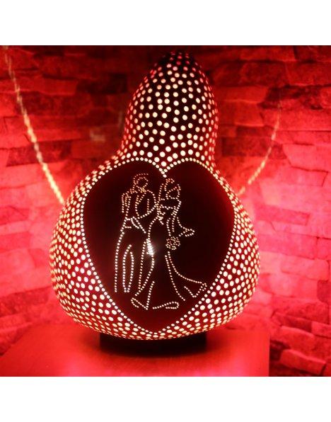 Gelin ve Damat temalı su kabağı lamba avize-abajur