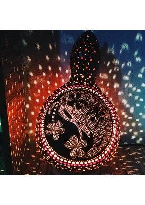 Çiçek motifi su kabağı lamba abajur …