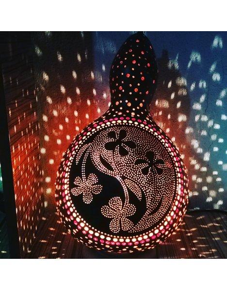 Çiçek motifi su kabağı lamba abajur modeli 4