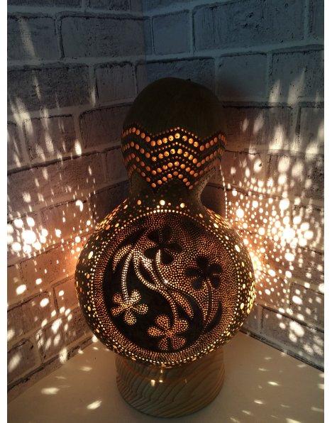 Yin yang çiçek motifi su kabağı lamba