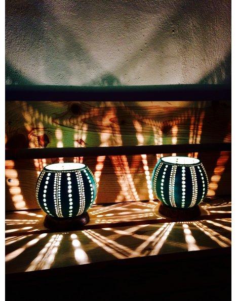 Turkuaz ikiz su kabağı lamba modeli