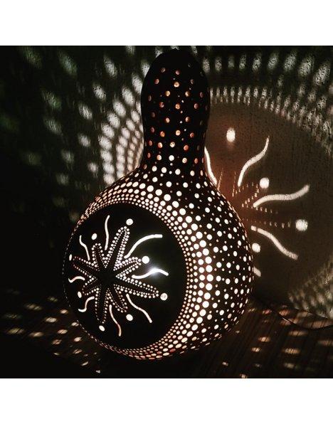 Eskitme siyah yıldız su kabağı lamba süs kabağı